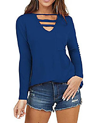cheap -womens top v neck cutout tunic with front pocket scoop neck long sleeve blouses(blue,2xl)