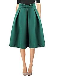 cheap -women's cute midi a line skirt high waist pleated flare knee skirts purple