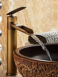 cheap -Single Handle Bathroom Faucet, Electroplated One Hole Rotatable Waterfall/Centerset, Brass Bathroom Sink Faucet Contain with Supply Lines