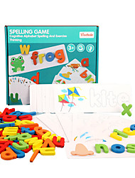cheap -Educational Flash Card Montessori Teaching Tool Jigsaw Puzzle Educational Toy Paternity Game Puzzle Cognitive Card 52 pcs compatible Card Paper Legoing Education Toy Gift / Kid's
