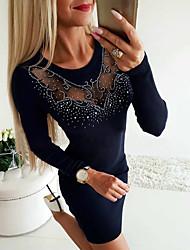 cheap -Women's Sheath Dress Short Mini Dress - Long Sleeve Solid Color Sequins Mesh Patchwork Fall Casual Slim 2020 Navy Blue Gray S M L XL