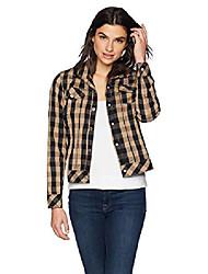 cheap -women's tina buffalo crinkle check jacket, almond tart, 14