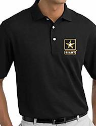 cheap -us army logo embroidered polo shirt (black, medium)