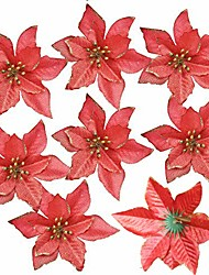 cheap -12pcs glitter poinsettia christmas tree ornament artificial wedding christmas flowers xmas tree wreaths decor ornament, 5.5inch, red and gold for choice (red)