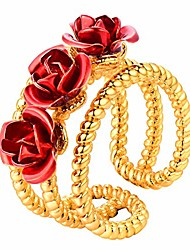 cheap -you are my rose ring 18k gold plated 3-line red flower adjustable size open ring