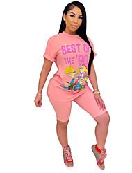 cheap -Women's Basic Print Two Piece Set T-shirt Pant Loungewear Print Tops