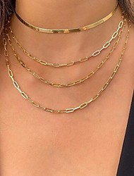 cheap -Women's Choker Necklace Chain Necklace Stacking Stackable Simple Vintage European Casual / Sporty Chrome Gold 21-50 cm Necklace Jewelry For Wedding Street Prom Birthday Party Festival