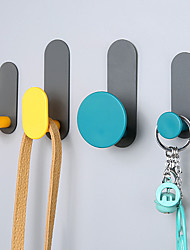 cheap -Modern Door Hook Organizer Rack, Clothes Hanger, Coat Hook, Use in Bathroom and Bedroom, 4 Hooks, Black White - 1pc