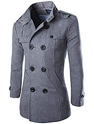 cheap -stylish warm winter jacket men's double breasted long sleeve trench pea coat