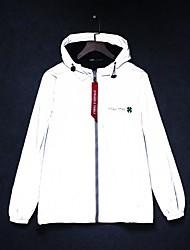cheap -Men's Zipper Hooded Jacket Regular Print Daily Print Long Sleeve White M L XL XXL