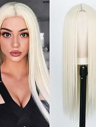 cheap -white straight long wigs for women 26 inch middle part long platinum blonde #60 straight wigs natural looking synthetic heat resistant full wigs (60#)