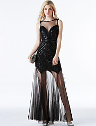 cheap -A-Line Elegant Vintage Holiday Party Wear Dress Jewel Neck Sleeveless Floor Length Spandex Tulle with Sequin 2020