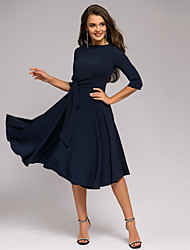 cheap -Women's A-Line Dress Knee Length Dress - Half Sleeve Solid Color Ruched Lace up Patchwork Summer Casual Slim 2020 Green Navy Blue Beige S M L XL XXL