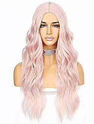 cheap -light pink color hair no-lace wavy big curly wig synthetic natural looking heat resistant fiber hair for girls women
