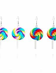cheap -colorful rainbow lollipop dangle earrings sweet lovely swirl lollipop candy pendant drop earrings sugar sweets set for women girl (iridescent)