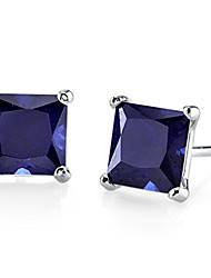 cheap -created blue sapphire stud earrings for women in 14 karat white gold, classic solitaire princess cut, 6mm, 2.75 carats total, friction back