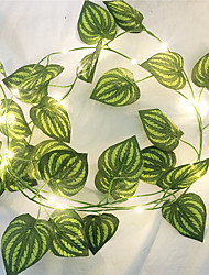 cheap -1X 2M Artificial Silk Green Ivy Leaf Vine LED String Lights For Home Wedding Xmas Party Hanging Garland Flexible String AA Battery Power Lighting (Come without Battery)