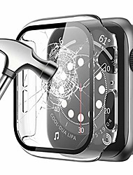 cheap -[2 pack] Case for apple watch 44mm 40mm 42mm 38mm series se 6 5 4 3 2 1 built-in tempered glass screen protector ultra-thin full cover protective hard pc bumper case for iwatch series