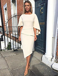 cheap -Sheath / Column Mother of the Bride Dress Elegant Jewel Neck Knee Length Charmeuse Half Sleeve with Tier 2020 Mother of the groom dresses