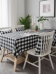 cheap -Cotton Linen Plaid Tablecloth American Table Cloth Coffee Table Cloth Cloth Rectangular Table Mat