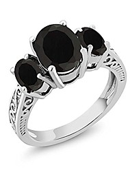 cheap -925 sterling silver black onyx 3-stone women's ring (2.41 cttw oval, available 5,6,7,8,9) (size 8)