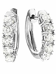 cheap -3.00 carat (ctw) 14k white gold round white diamond ladies huggies hoop earrings 3 ct - premium collection