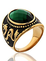 cheap -stainless steel vintage antique gemstone green emerald color stone ring for men and women size 10