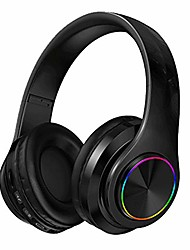 cheap -bluetooth headphones,colorful led lights,wireless foldable stereo headset with microphone for pc/iphone/tv/ipad and support tf card mp3 mode (black)