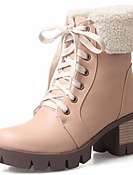 cheap -women's lace-up fur top chunky mid heel warm ankle booties winter boots