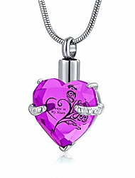 cheap -heart urn necklace for ashes women cremation jewelry for ases pendant always in my heart (rose red)