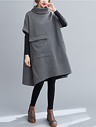 cheap -Women's Sweater Jumper Dress Knee Length Dress - Long Sleeve Solid Color Patchwork Fall Turtleneck Casual 2020 Black Gray L XL