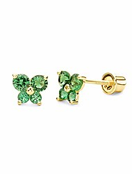 cheap -14k yellow gold butterfly stud earrings with screw back, may