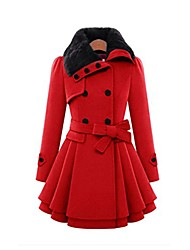 cheap -women lapel double-breasted thick wool coat bowknot belt jacket outwear (red, m)