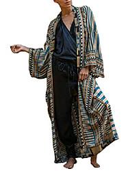 cheap -women geometric print swimsuit cover ups for swimwear long sleeve beach kimono cardigan
