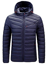 cheap -men's classic hooded chevron quilted zip-up puffer down alternative jacket (small, dark blue)
