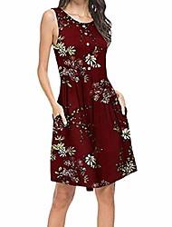 cheap -womens sunflower print sleeveless tank dresses button pleated summer casual sundress tunic vintage a-line mini dress red