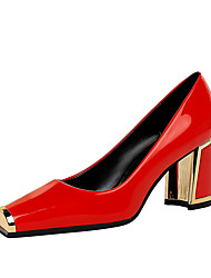 cheap -Women's Heels Block Heel Square Toe Casual Daily Walking Shoes Patent Leather Almond Black Red