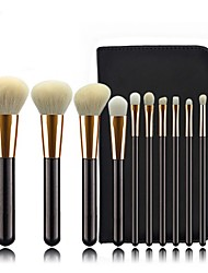 cheap -11 pieces of animal hair make-up brush set wool Pu zipper bag color make-up beauty tools high-grade multi-functional makeup brush