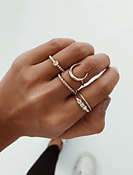 cheap -Ring Vintage Style Gold Alloy Crescent Moon Vintage Trendy Fashion 1 set Index Finger Middle Finger Ring Finger / Women's