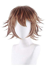 cheap -halloween manga cosplay wig for women & girls dressing-up party pretend game costume dance performance wig short choppy brown hair