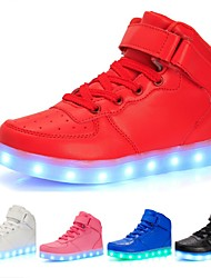 cheap -Girls' Sneakers LED LED Shoes USB Charging Leatherette PU Little Kids(4-7ys) Big Kids(7years +) Casual Outdoor Walking Shoes Lace-up Hook & Loop LED White Black Blue Winter Spring