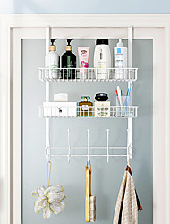 cheap -Over Door Hook Organizer Sehlf Rack, Bathroom Cabinet Clothes Hanger, Coat Hook, Use in Bathroom and Bedroom, 5 Hooks, Black White- 1pc