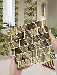 cheap -Imitation Epoxy Tile Sticker Black Gold Mosaic Water Corrugated Wall Sticker House Renovation DIY Self-adhesive PVC Wallpaper Painting Kitchen Waterproof and Oilproof Wall Sticker