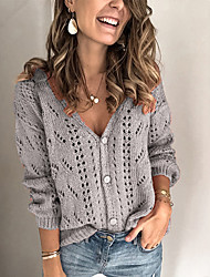 cheap -Women's Solid Color Jumper Acrylic Fibers Long Sleeve Sweater Cardigans V Neck Fall Winter Gray
