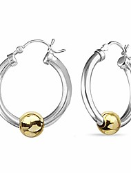 cheap -sterling silver jewelry high polish beaded click-top hoop earrings for women