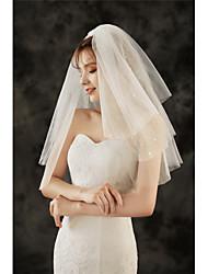 cheap -Three-tier Stylish / Basic Wedding Veil Elbow Veils with Trim 23.62 in (60cm) Tulle