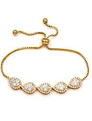 cheap -cubic zirconia cz wedding bridal pear cut adjustable teardrop chain bracelet for women lady (gold)