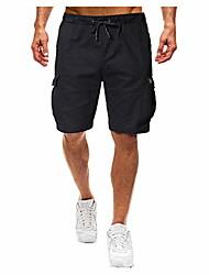 cheap -men classic 9 inch inseam elastic waist shorts walk hiking multi pockets trunks casual outdoor athletic pants black