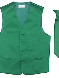 cheap -boy's dress vest & necktie solid emerald green color neck tie set size 8
