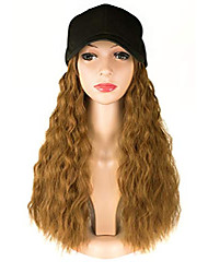 cheap -honey blonde wavy wig with hat,adjustable black baseball cap fits women easy to use,synthetic hair color 27